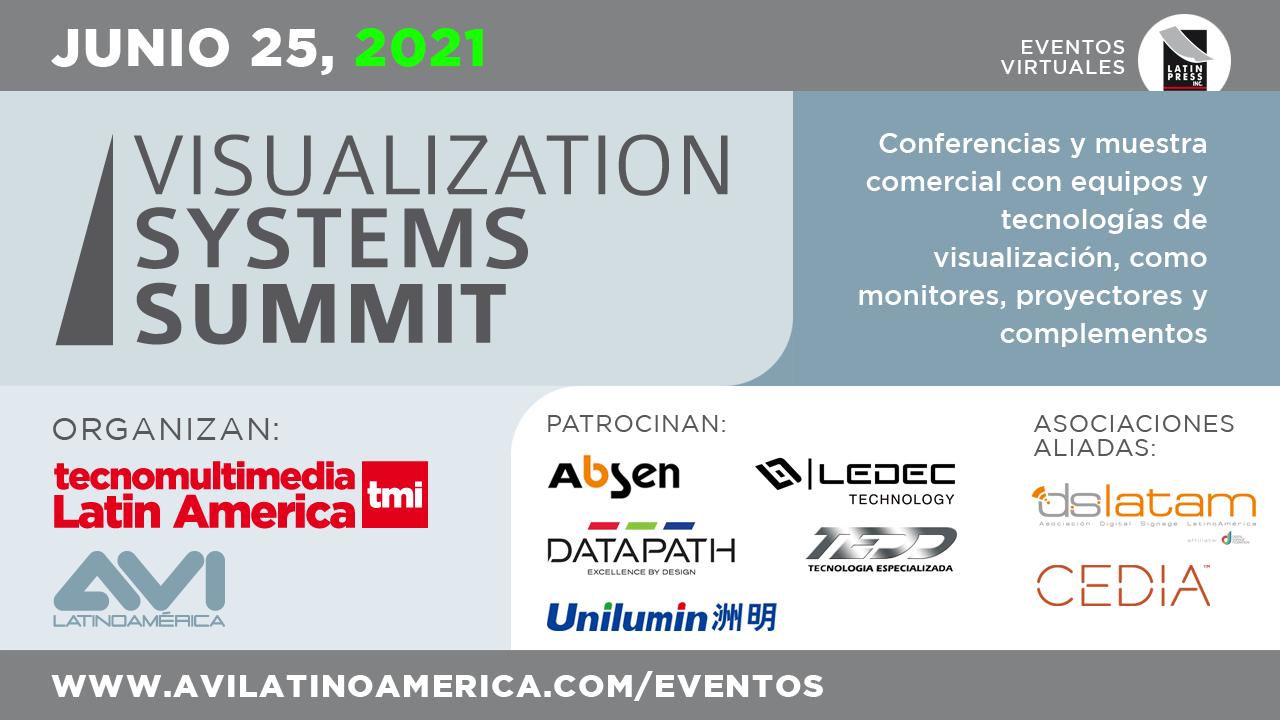 Conferencias y muestra comercial con equipos y tecnologías de visualización, como monitores, proyectores y complementos